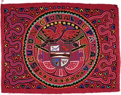 Mola depicting the Panamanian flag. Gift of Theodor Hans, in memory of his wife, Elisabeth Hans