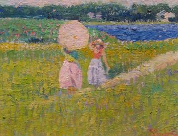 Sam Barber, Summer Path, 1989, oil on masonite. Gift of the Artist.