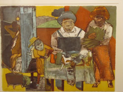Romare Bearden, Family, color aquatint and photo-engraving, 1975. The Louise Crombie Beach Fund.