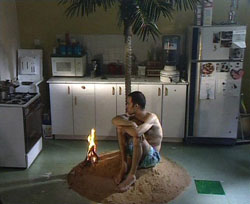 Caption: Guy Ben-Ner, Berkeley's Island, video, 1999