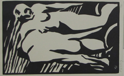 Horace Brodzky. Australian, 1885-1969. The Expulsion. Linocut, 1919. Gift of Nancy J. Barnes in memory of Dr. Todd M. Schuster, Professor of Molecular and Cell biology, University of Connecticut.