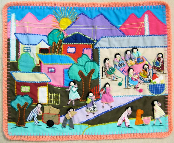 Women sewing arpilleras in a community workshop. Others are on the way to the building bringing scraps to sew with. Also note the common soup pot in the bottom right.  These women are helping each other out, some sewing and some cooking.