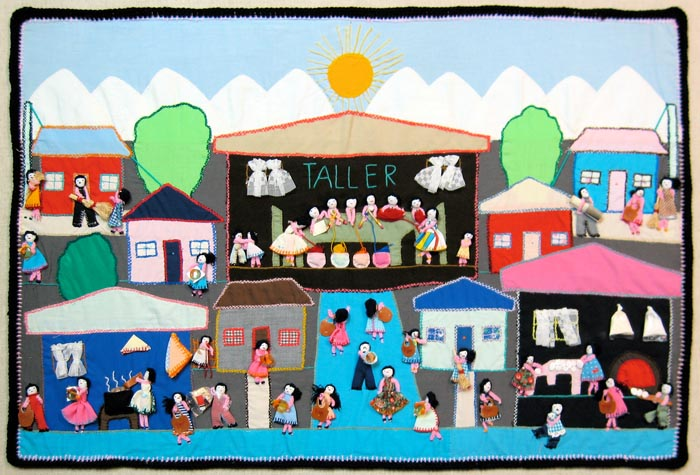 """Women are bringing odds and ends to add to the arpilleras. They may bring scraps of material, thread, pieces of leather, plastic, hay, paper, and other odds and ends all used to make the pieces three dimentional. """"Taller"""" = Arpillera workshop"""