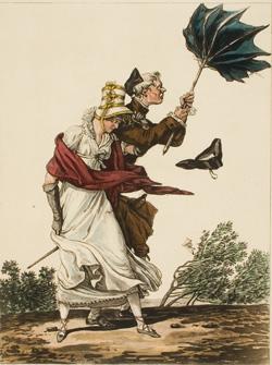 Philibert-Louis Debucourt, Le Coup de Vent, after C. Vernet, 1816, color etching and aquatint