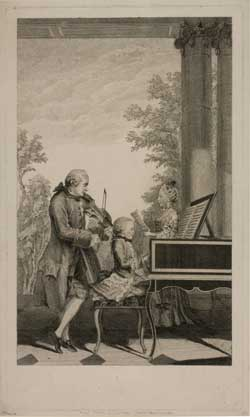 "Jean Baptiste Delafosse, The Mozart Family , engraving, 1764, after Louis Carrogis (""Carmontelle"")"
