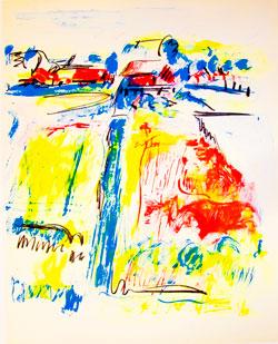"Jane Freilicher, Landscape, ca. 1961-62, 29"" x 23"", lithography"