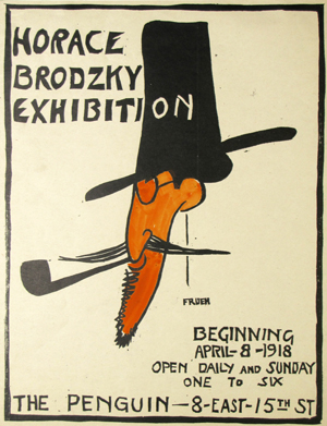 Alfred J. Frueh, Poster for Horace Brodzky Exhibition, Linocut, 1918. Gift of Alfred J. & Nancy Frueh.