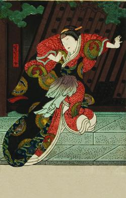 "Hirosada, Onoe Tamizo II as ""Hangaku,"" early 1850s, colored woodcut. From the George Lincoln Collection."