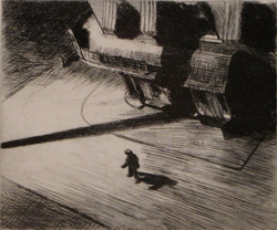 Edward Hopper (American, 1882-1967). Night Shadows, 1921. Etching. 6-7/8 x 8-1/4 inches. The Louise Crombie Beach Memorial Fund.
