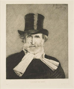 Caption from Musical Prints: Paul Lafond (1847-1918), Portrait of Giuseppe Verdi (1813-1901), etching, 1890, after Giovanni Boldini