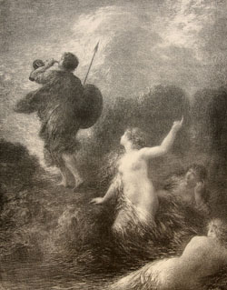 Henri Fantin-Latour, French (1836-1904), Siegfried and the Rhine Maidens, 1897. Lithograph. Gift of Friends of the Museum, 1977.17.2
