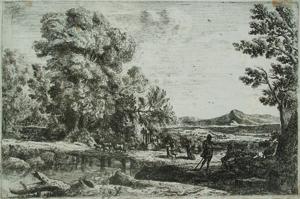 Claude Lorrain, La Pont de bois / Rebecca and Eliezer, ca. 1638-41, etching. Robert S. and Naomi C. Dennison Fund.