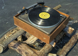 Katie Mansfield, The Good Old Days, wood, turntable, Johnny Cash record, Dimensions Variable