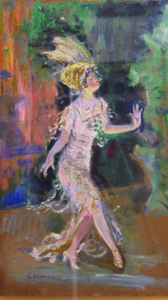 Everett Shinn, The Dancer, 1909, oil on board. Gift of Charles and Marjorie Benton.