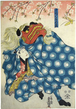 Toyokuni III, Untitled, 1847-1852, colored woodcut. A gift of the estate of Tamara Kern Hareven.