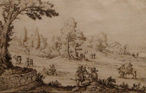 Ercole Bazzicaluva, Tuscan Road with Travelers, pen & brown in over laid paper, ca. 1635. Gift of The Friends of the Museum.