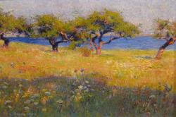 Robert William Vonnoh, Landscape, oil, 1891