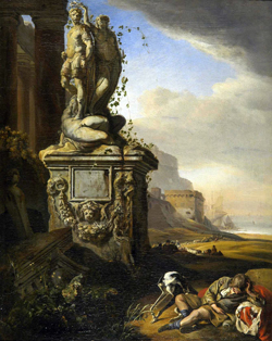 Jan Weenix, Dutch (1642-1719), Italianate Landscape with Sleeping Youth and Sculpture, ca. 1660/65. Oil on canvas. Museum Purchase for the Louise Crombie Beach Memorial Collection, 2007.10