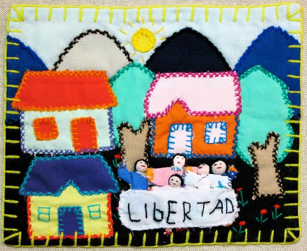"""Supporters of Liberty. Note their outstretched empty arms, possibly signifying the missing husbands and children. """"Libertad"""" = liberty"""
