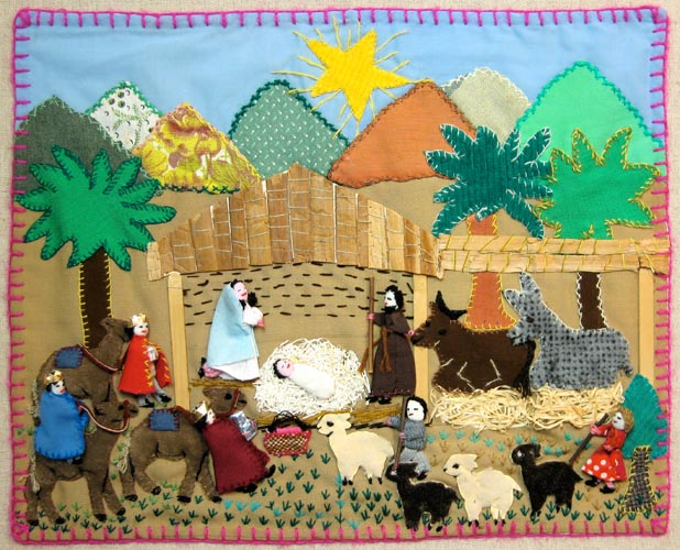 This Nativity scene is an example of a non- political arpillera. The birth of Christ.