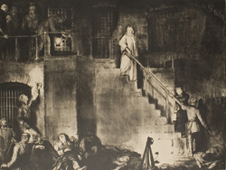 George Bellows, American, 1882-1925, Death of Edith Cavell, lithograph, 1918. Louise Crombie Beach Memorial Collection.