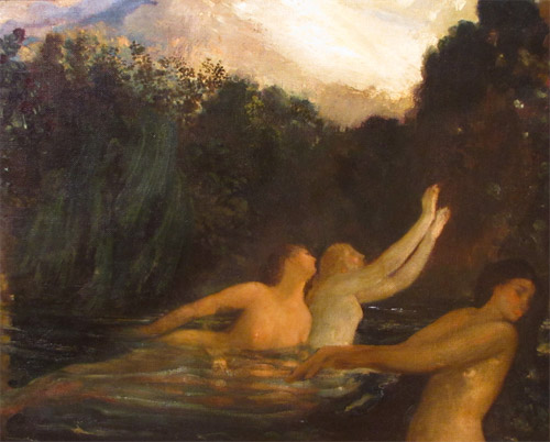 Arthur Bowen Davies, The Sirens, ca. 1896, Oil on canvas. Gift of Robert A. Ellison.