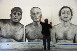 "Ray DiCapua, Portraits: Ten Connecticut Men. Charcoal on paper, 84""x60"", 2008."