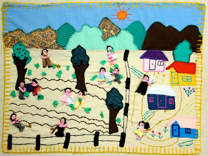 A seemingly happy village with a communal garden or farm. This is either a non-political arpillera or an arpillera created by the government for propaganda purposes.