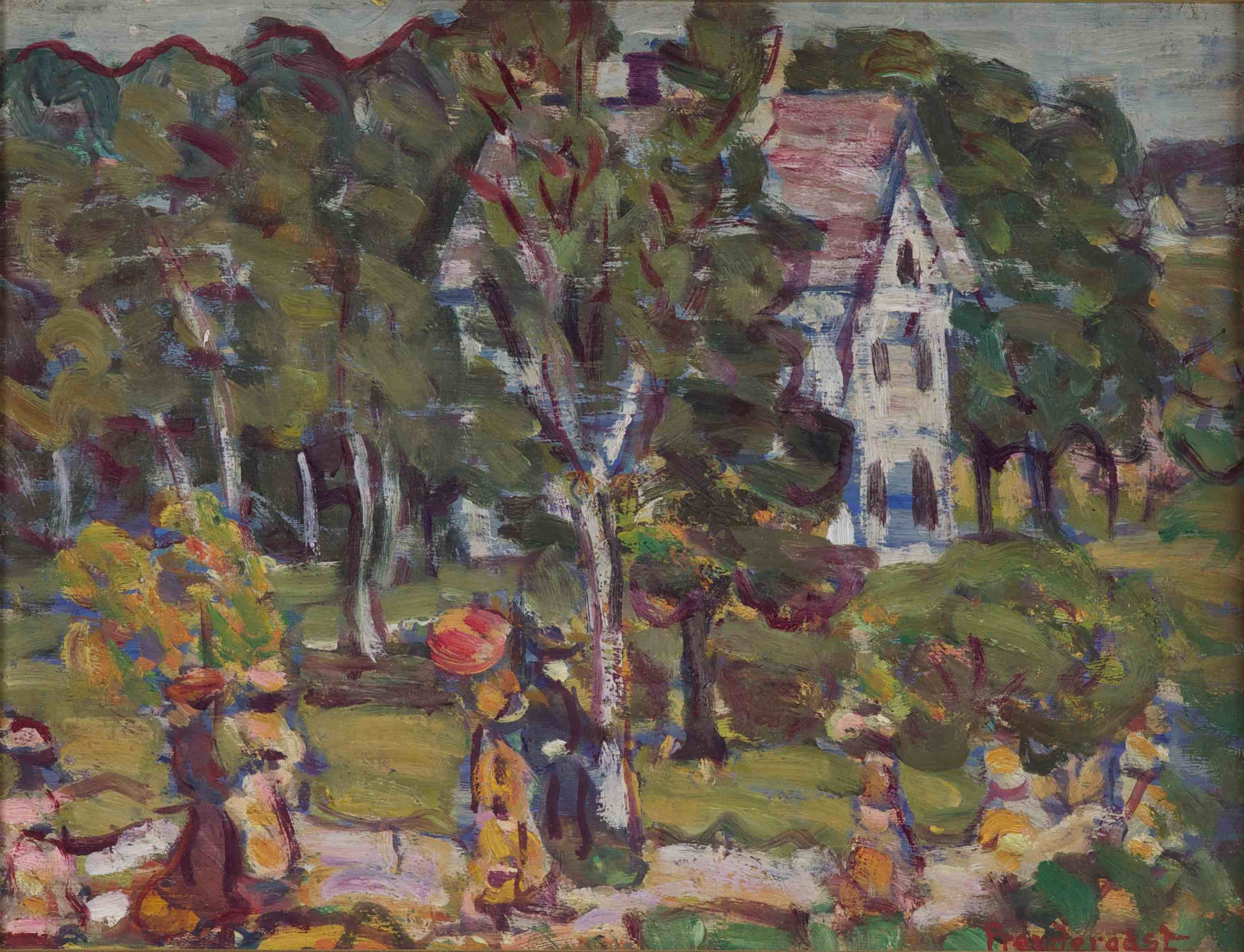Maurice Brazil Prendergast (American, 1859–1924), Sunday Afternoon, c. 1910–1913. Oil on panel. Gift of Mrs. Eugenie Prendergast.