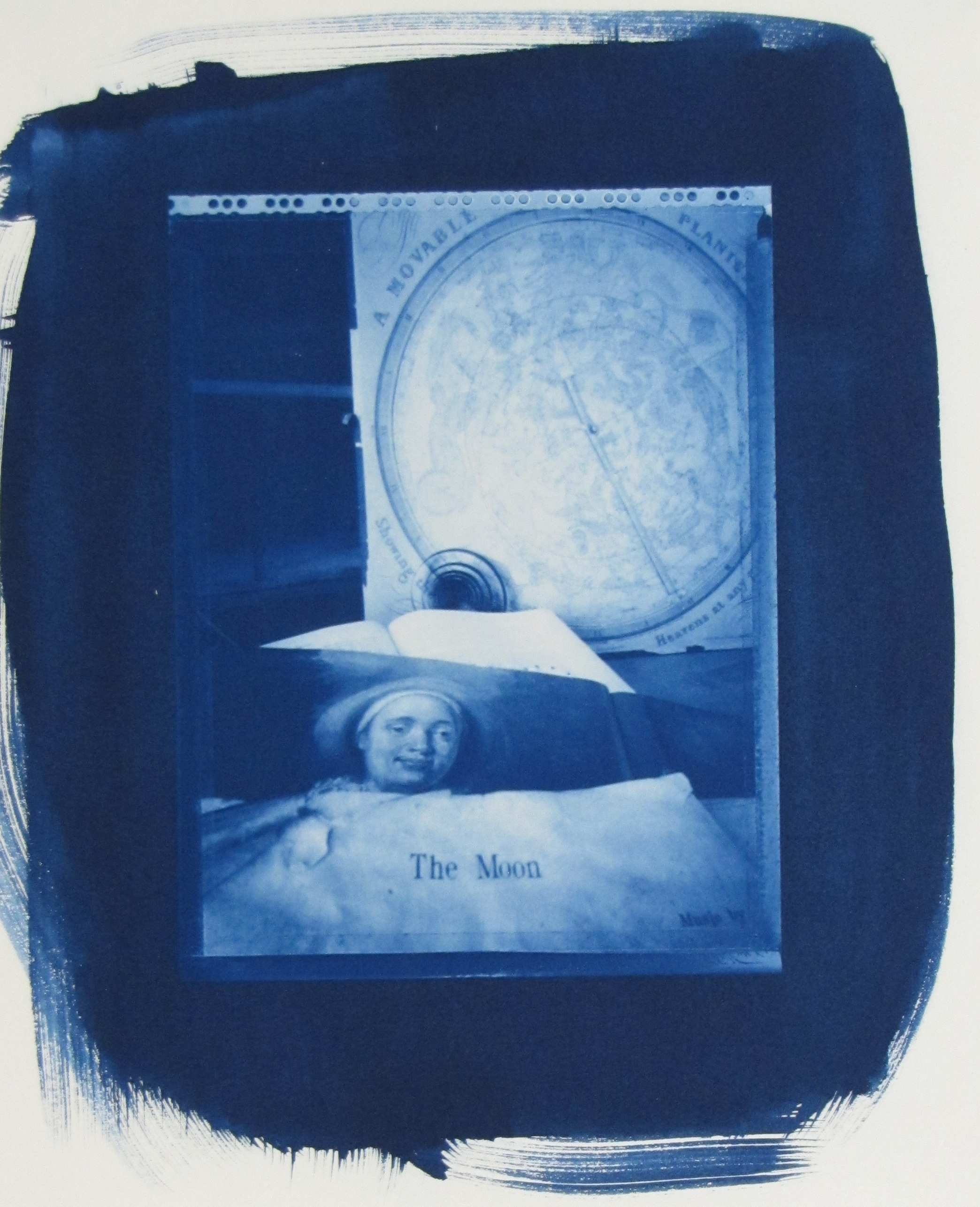 Jesseca Ferguson  (American, b. 1949).   The Moon, 1999 Collage with pinhole ware cyanotype print, Collection of The William Benton Museum of Art