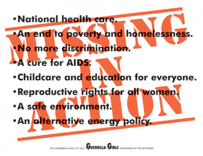 Guerrilla Girls, Missing in Action, 1991, Poster