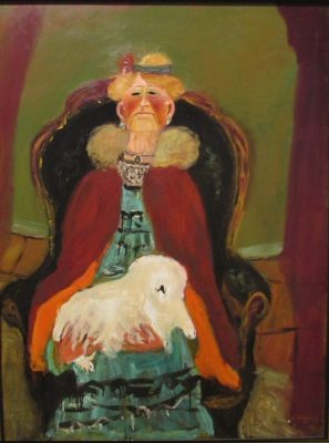 Nicholas Vasilieff, Woman With White Dog, c 1946, Oil on canvas