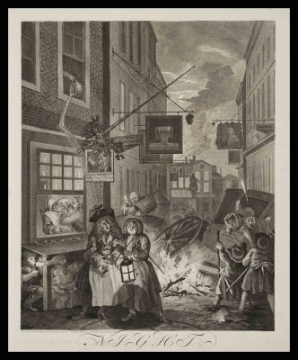 William Hogarth etching and engraving, titled The Four Times of Day: Night created in 1738. Benton Museum Collection.