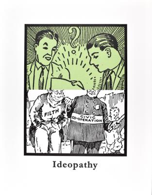 Print by John Schulz, Ideopathy 2015. Photopolymer letterpress print.