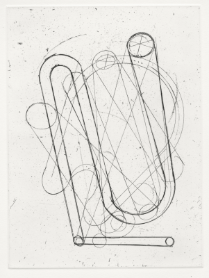 Print by Sharon Butler, Pipes, 2014. Etching.