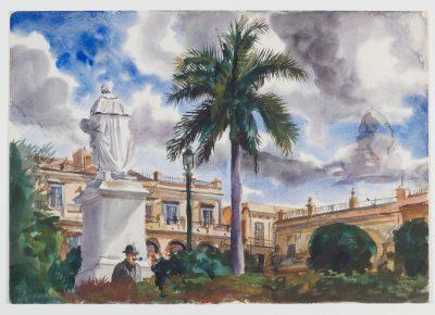 "Watercolor by Reginald Marsh ""Havana, Cuba"" 1930"