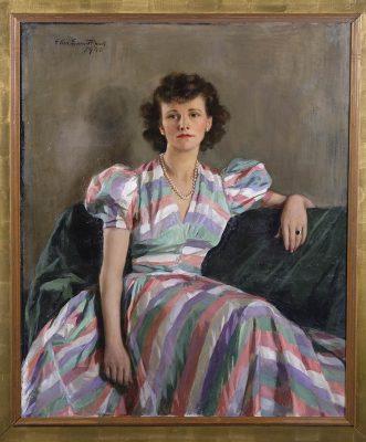 "Ellen Emmet Rand, Mrs. John Potter"" 1940. Oil on Canvas. Museum collection."