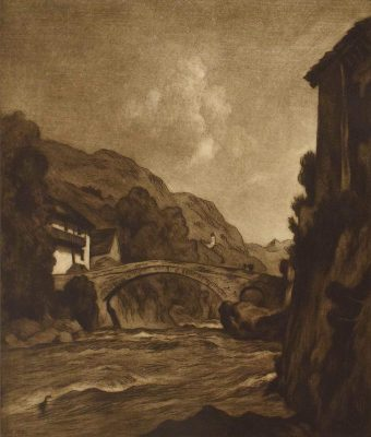 John Henry Hill, River and Bridge (1881), Gift of Dr. and Mrs. Norman Zlotsky, William Benton Museum of Art.