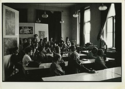Gus Mazzocca lectures as a guest artist in 1988 at the Jan Matejko Academy of Fine Arts in Krakow, Poland.