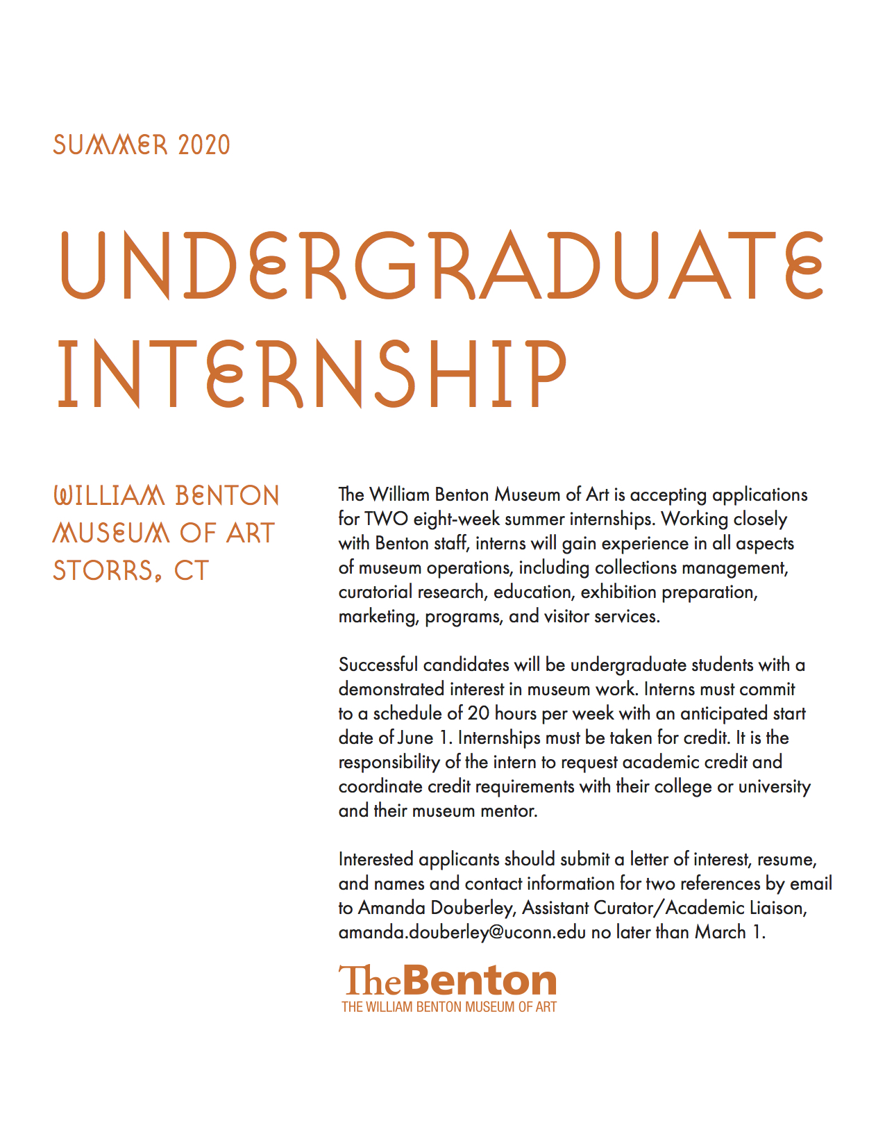 poster with details about the summer 2020 undergraduate internship at the Benton Museum
