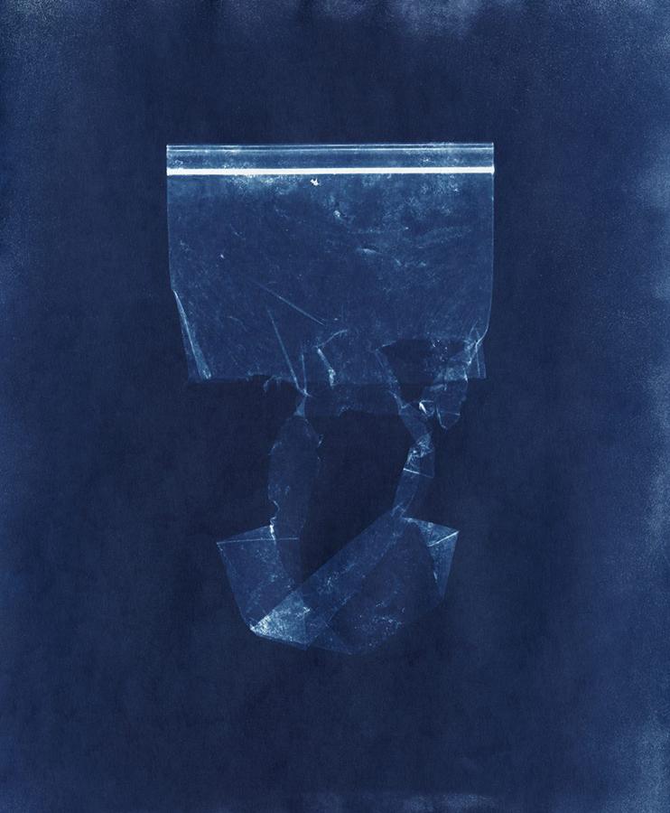 "Plastic Sandwich Bag Collected on December 3 2018 (2019). Cyanotype print, 17"" x 14""."