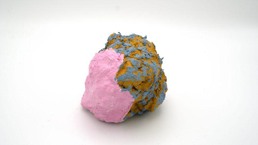 "Chunk 21 (2020). Plaster, polystyrene, oil, acrylic, 4.5"" x 5.5"" x 3.5""."