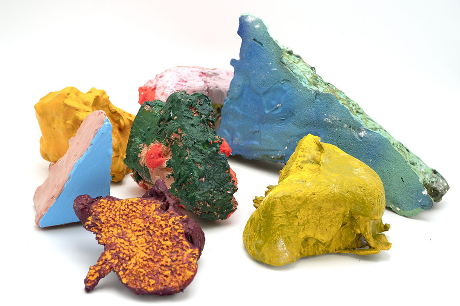 Chunks and Lumps (2018-2020). Plaster, polystyrene, acrylic, oil, spray paint, dimensions variable.