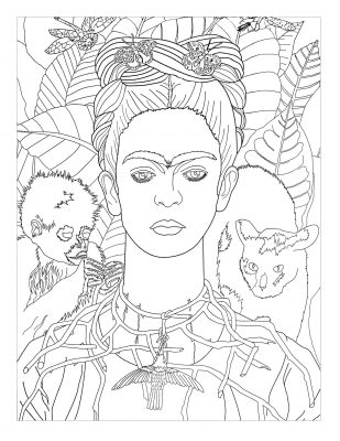 Frida Khalo self portrait masterpieces coloring page
