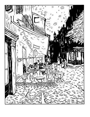 "Van Gogh ""Le Cafe de Nuit"" masterpieces coloring page"