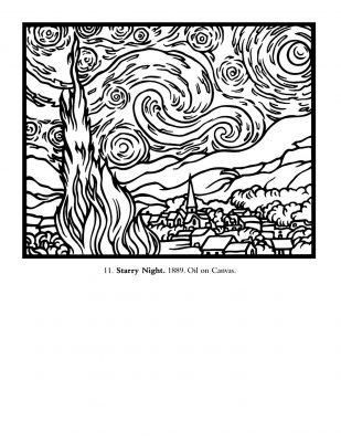 "Van Gogh ""Starry Night"" masterpieces coloring page"
