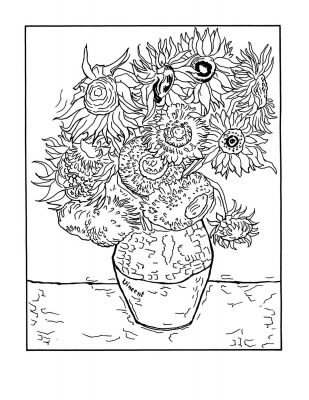 "Van Gogh ""Vase with Twelve Sunflowers"" Masterpieces coloring pages"
