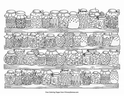 Coloring Page; canning jars