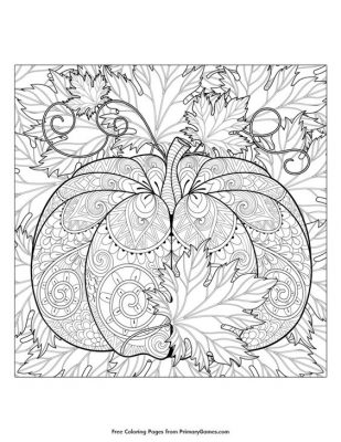 Coloring Page; fall pumpkin