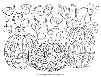 Coloring Page, 3 pumpkins